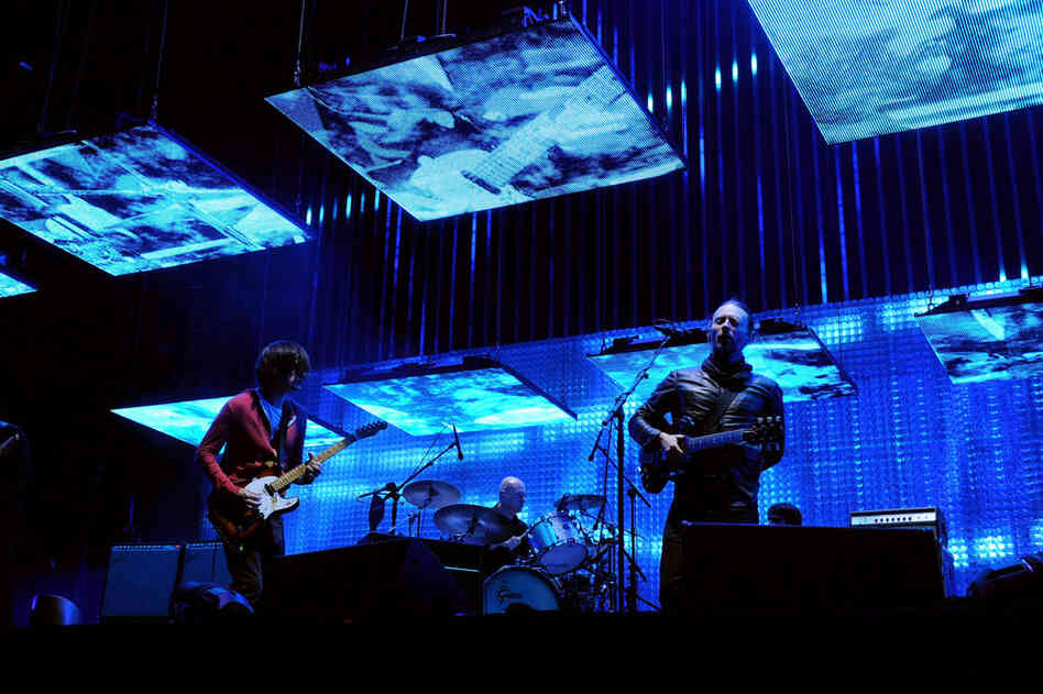 Radiohead's headlining set on April 14 featured many songs from their album The King of Limbs, and an excellent ponytail on the head of singer Thom Yorke (right).
