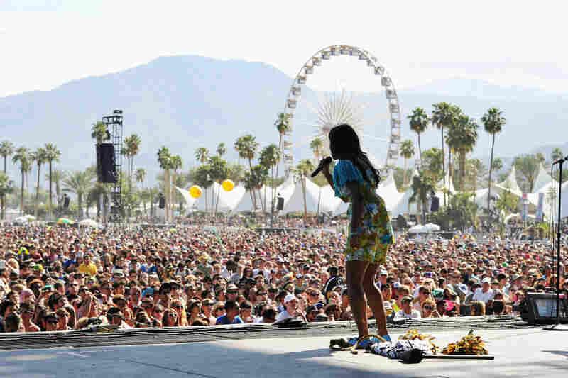 Santi White, aka Santigold, performs onstage at Coachella on April 15.