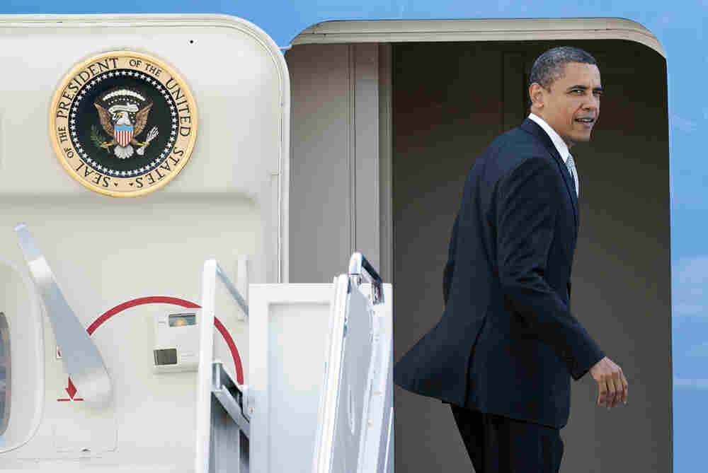 President Obama boards Air Force One at Andrews Air Force Base in Maryland, en route to Florida, on April 10. Whenever a president runs for re-election, his travel tends to become a political issue.