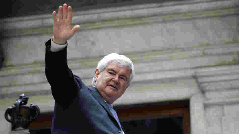 Newt Gingrich waves to supporters as he leaves a campaign stop in Buffalo, N.Y., last week.