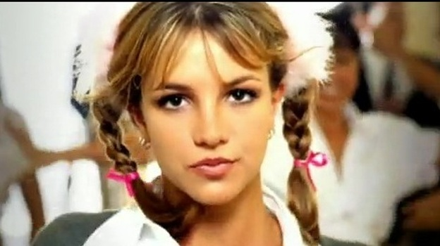 """A screencap from the Britney Spears video, """"...Baby One More Time."""" ( )"""
