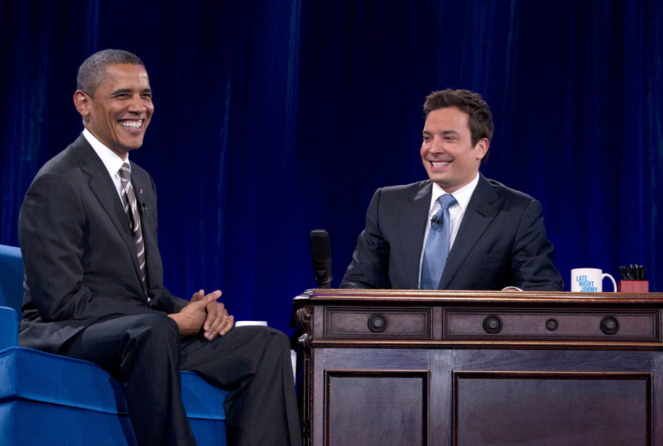 President Barack Obama laughs with Jimmy Fallon during commercial break as he participates in a taping of the Jimmy Fallon Show on Tuesday.