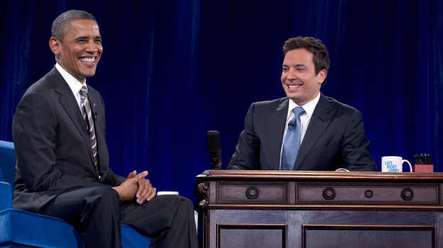 President Barack Obama laughs with Jimmy Fallon during commercial break as he participates in a taping of the Jimmy Fallon Show on Tuesday. (AP)