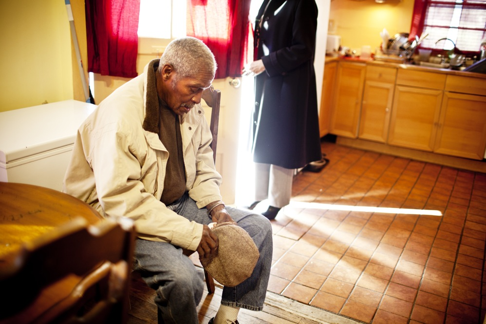 Franklin, who was a Safeway employee for over 40 years, spends his weekdays at the Crescent Ridge Adult Day Health Center.  Franklin's dementia and partial blindness mean Natasha can't leave him alone.