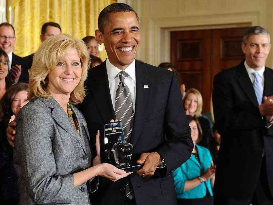 President Obama gave the 2012 National Teacher of the Year trophy to Rebecca Mieliwocki this morning at the White House.