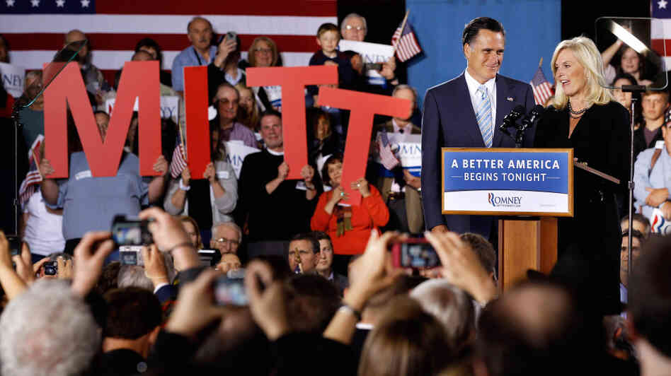 Mitt Romney and his wife, Ann, address a campaign rally in Manchester, N.H. Romney swept five Republican primaries Tuesday night.