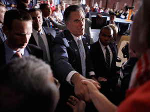 "Republican presidential candidate Mitt Romney shakes hands with supporters during a campaign rally titled ""A Better America Begins Tonight"" April 24, 2012 in Manchester, N.H. Romney delivered remarks on the day voters in N.Y., Conn, Del, R.I., and Pa, cast ballots in their state primaries."