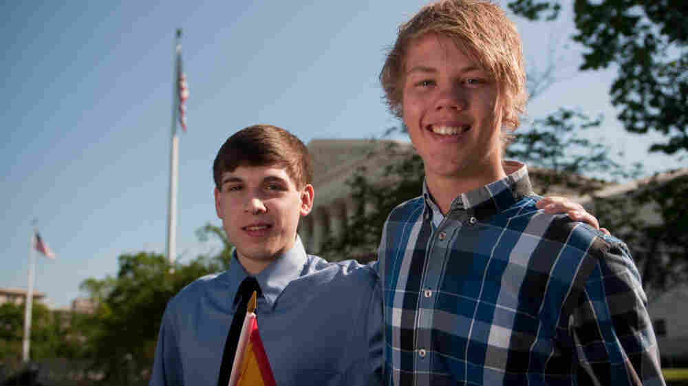 Benjamin Williams (right) and Ole Martin, classmates from Juneau, Alaska, disagree about SB 1070.