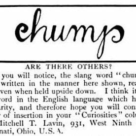 """chump"" ambigram"