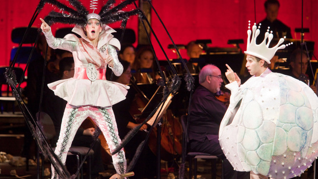 György Ligeti's surreal opera Le Grand Macabre was the hit of the New York Philharmonic's 2009-2010 season, in a semi-staged production that featured Barbara Hannigan (left) as Gepopo and Anthony Roth Costanzo as Prince Go-Go. (New York Philharmonic)