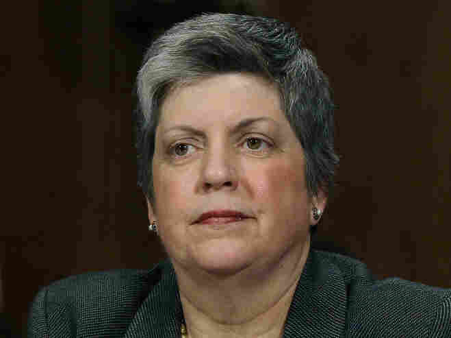 Homeland Security Secretary Janet Napolitano as she testified this morning before the Senate Judiciary Committee.