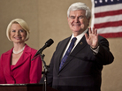Republican presidential candidate Newt Gingrich and his wife, Callista, Tuesday night in Concord, N.C.
