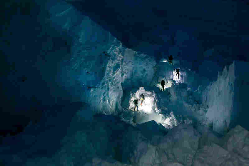 Sherpas' headlamps in the Khumbu Icefall early in the morning, April 20.