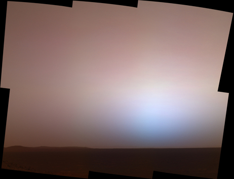 The martian twilight sky at Gusev crater, as imaged by the panoramic camera on NASA's Mars Exploration Rover Spirit around 6:20 in the evening of the rover's 464th martian day (April 23, 2005).