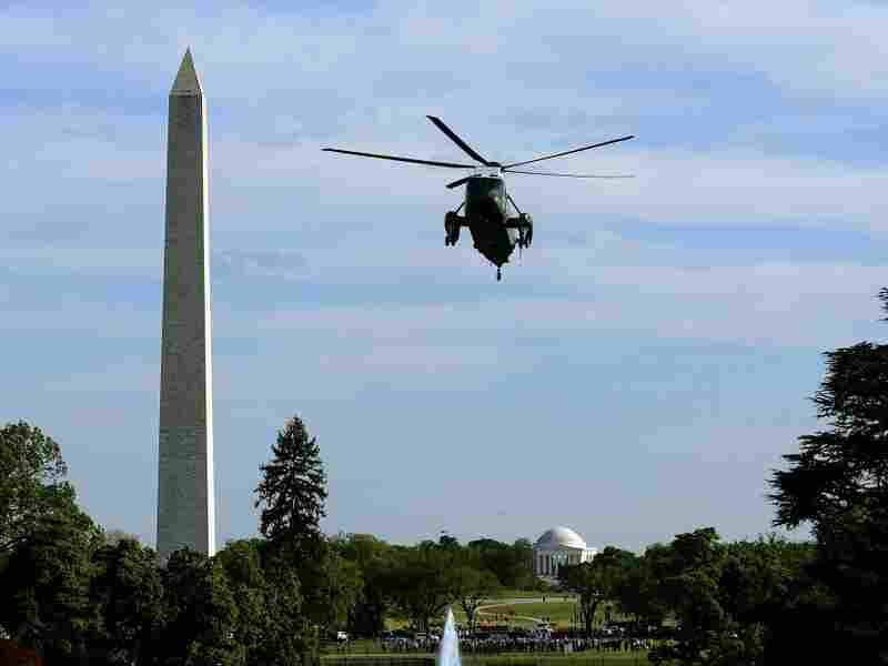 Marine One with President Barack Obama onboard prepares to land on the South Lawn at the White House in Washington, D.C., on April 25, 2012.