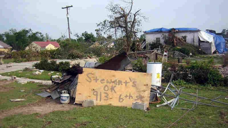 The Stewart house, taken from the same angle, after the tornado.