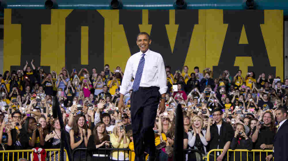 President Obama arrives to speak at the University of Iowa in Iowa City on Wednesday.