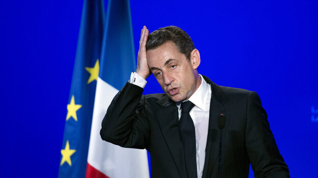 European leaders keep getting driven from office by voters upset with the continent's ongoing economic problems. French President Nicolas Sarkozy, shown here at a campaign event on Thursday, is trailing in opinion polls in advance of a May 6 runoff election.