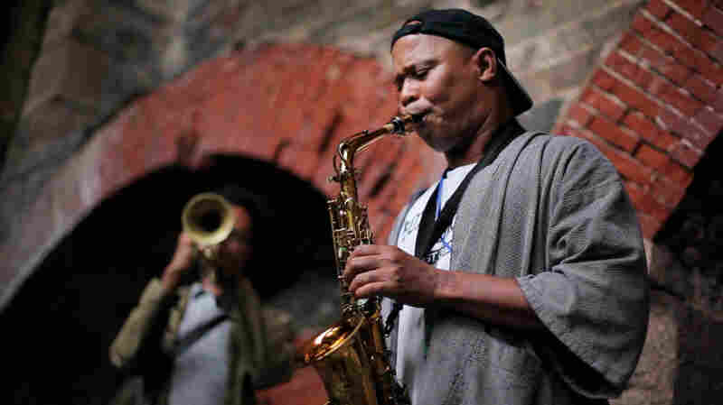 Steve Coleman plays in the ruins of Fort Adams during the Newport Jazz Fest 2011.