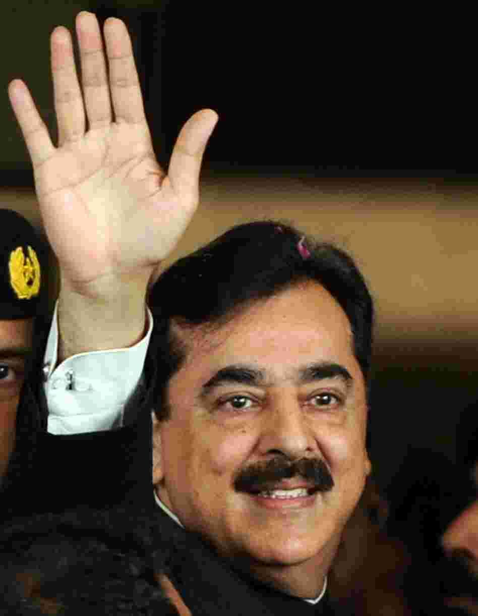 Pakistan's Prime Minister Yousuf Raza Gilani as he arrived at court today in Islamabad.