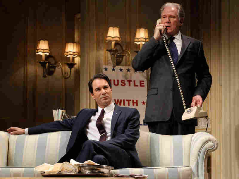 Sen. Joseph Cantwell, played by Eric McCormack (left), is an ambitious striver who throws mud at his rival, Secretary William Russell, played by John Larroquette, who debates whether to use some dirt of his own in The Best Man.