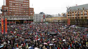 People gathered in Oslo today to sing Children of the Rainbow, in a demonstration against the views of killer Anders Behring Breivik.