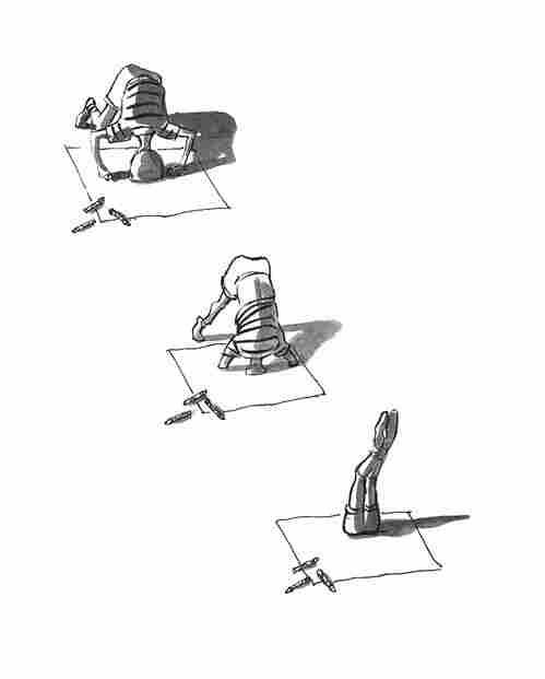 A boy diving into a book.
