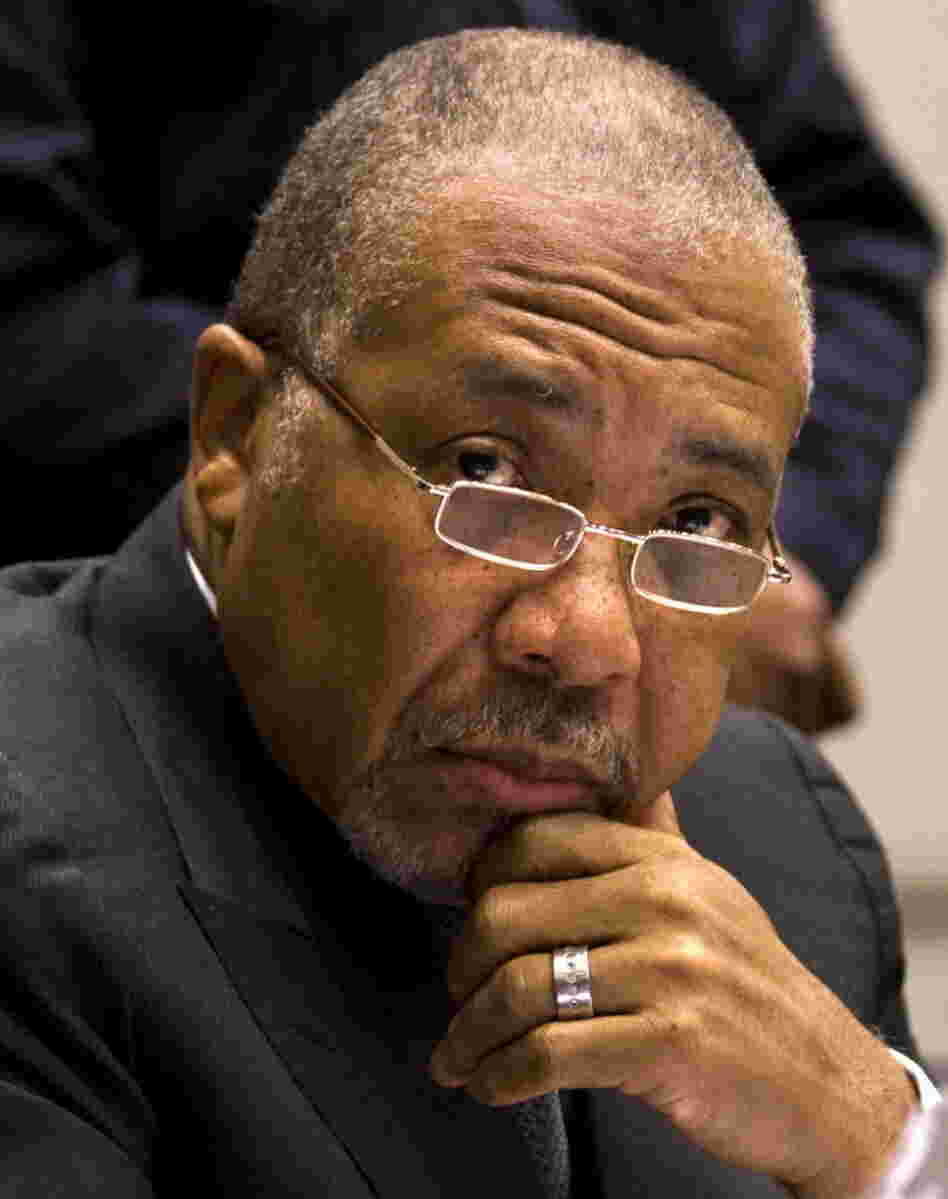 Former Liberian President Charles Taylor, in court on Feb. 8, 2011.