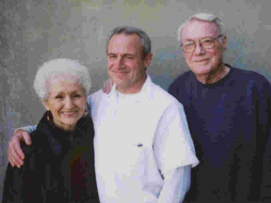 Michael Morton (center) and his parents a year before he was released.