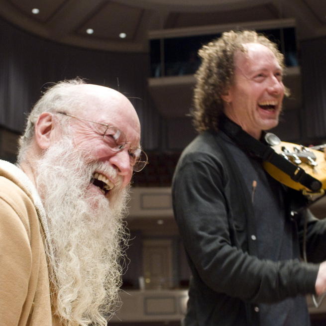 Composer Terry Riley and electric violinist Tracy Silverman in February 2012.