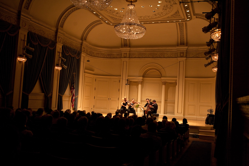 "The group played at Carnegie's most intimate and very elegant Weill Recital Hall. As one audience member remarked during intermission, this is the ""sweetest place for chamber music."""