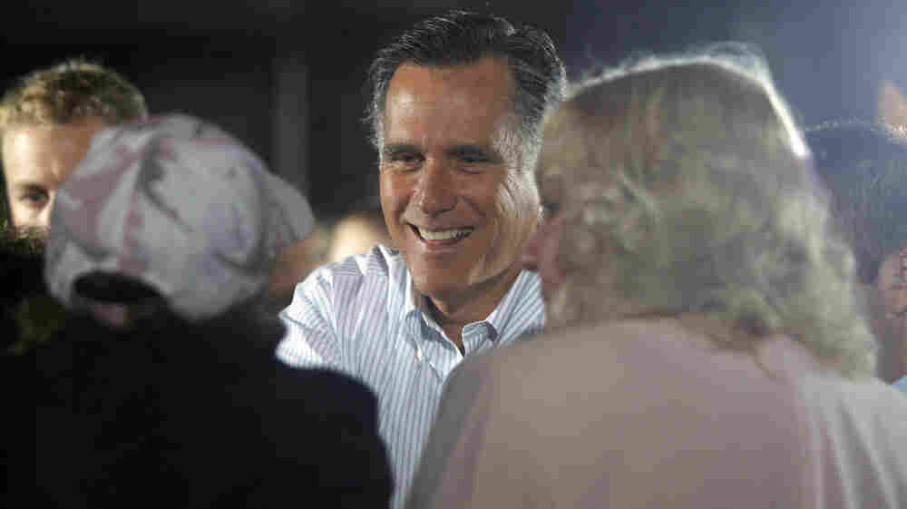Republican presidential candidate Mitt Romney greets supporters in Aston, Pa., on April 23.