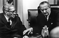 Judge Thurgood Marshall (left) in discussion with President Lyndon Baines Johnson, following Marshall's appointment as a member of the Supreme Court, the first African-American to hold the post.