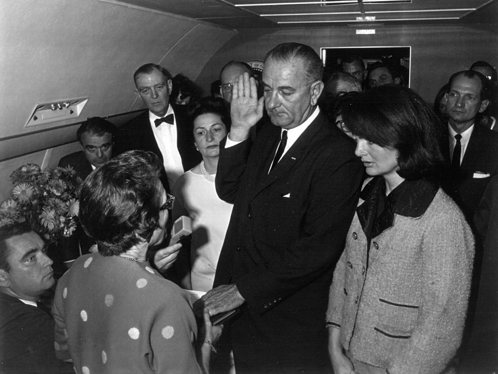 Lyndon B. Johnson takes the oath of office as president of the United States after the assassination of President John F. Kennedy, Nov. 22, 1963.