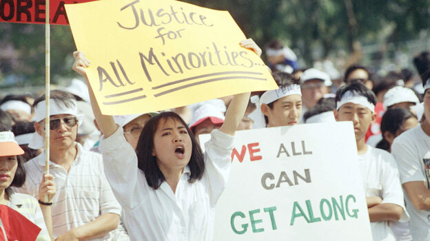 A crowd of more than a thousand rallied in Los Angeles on May 2, 1992, calling for healing between Koreans and the African-American community.
