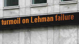 Sept. 15, 2008, in London: The news of Lehman's bankruptcy hits.