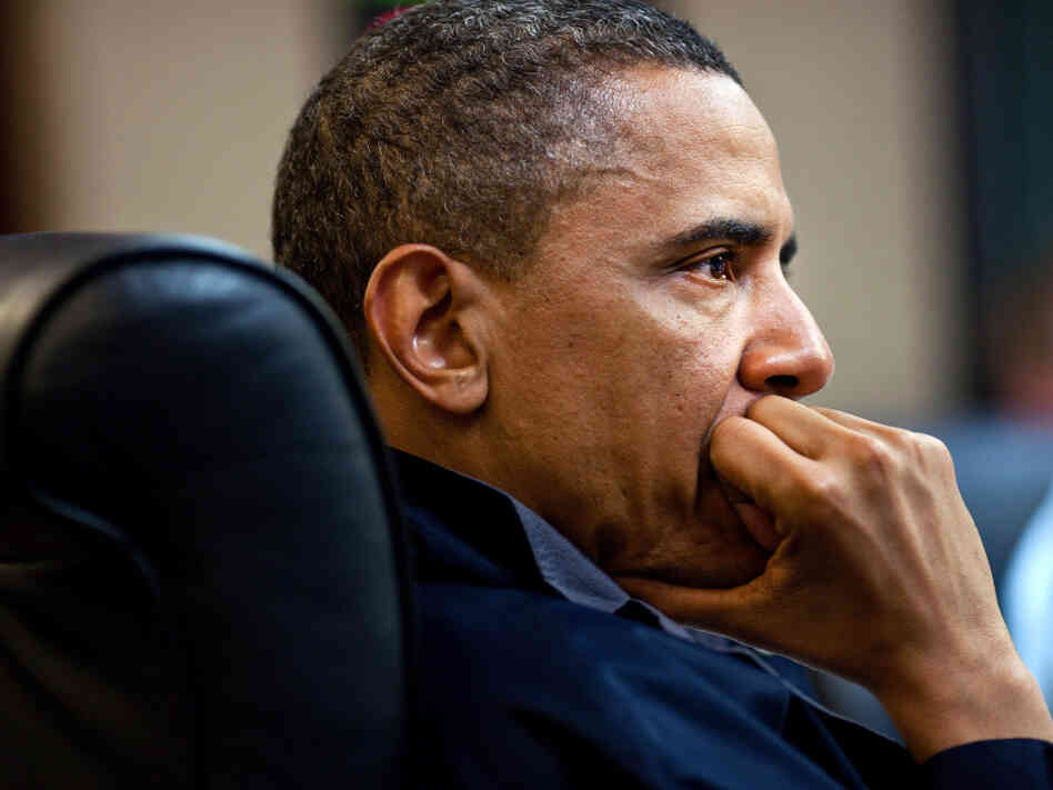 President Obama in the White House Situation Room during the Osama bin Laden mission.