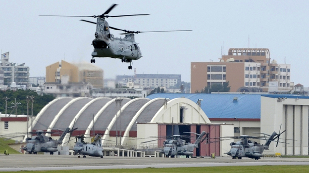 A U.S. Marine Corps helicopter takes off from Air Station Futenma in Ginowan, Okinawa prefecture. (AFP/Getty Images)