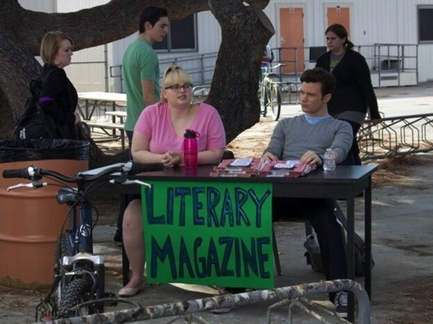 Carson Phillips (Chris Colfer) and Malerie Baggs (Rebel Wilson) try to drum up support for their school's literary magazine in the dark comedy Struck By Lightning, for which Colfer wrote the screenplay.