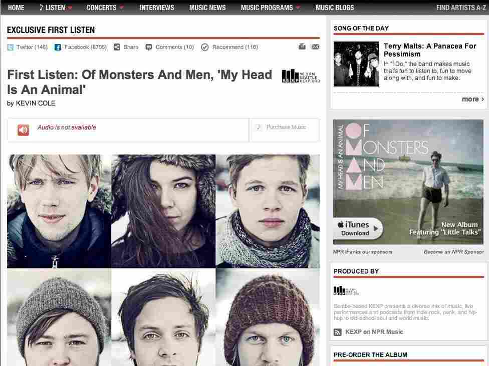 A sponsorship banner for Of Monsters and Men's new album appeared on an NPR Music page about the band.