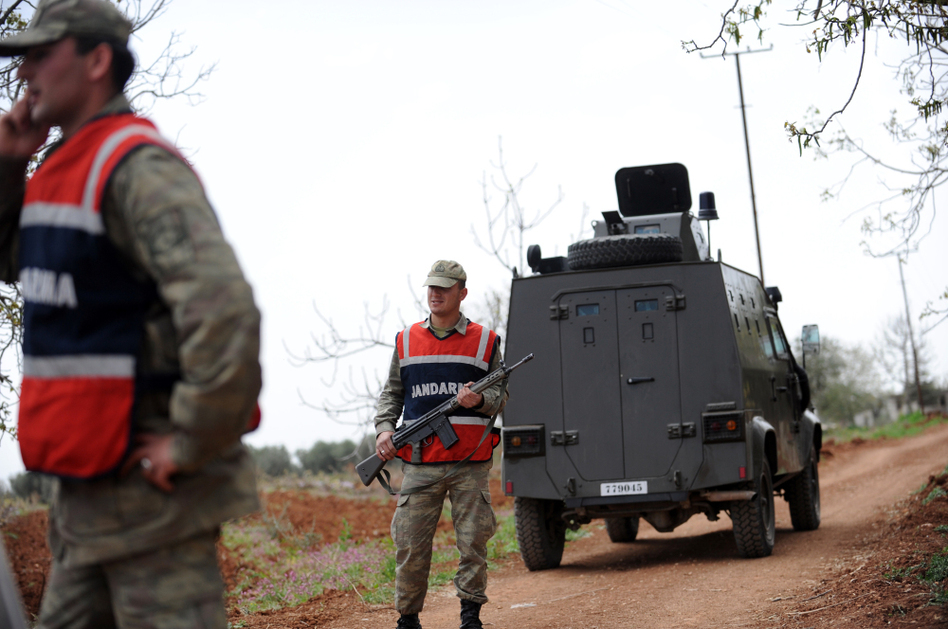 Turkish army personnel patrol near the border with Syria in Kilis earlier this month. Activists and smugglers say it's getting harder to get medical and communications equipment into Syria across the Turkish border.