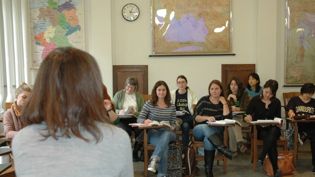 Wellesley College English professor Yoon Lee teaches a class on the rise of the novel. (NPR)