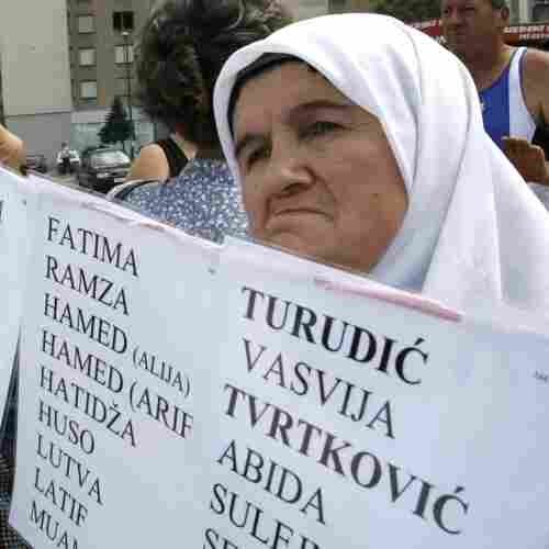 Bosnian Muslim women hold posters with the names of the missing during a protest at the U.N. office in Sarajevo in 2008. Hundreds of wartime rape victims were protesting the decision of the U.N. war crimes tribunal to reject the prosecution's request for rape charges to be added against two Bosnian Serbs who were on trial for other war crimes.