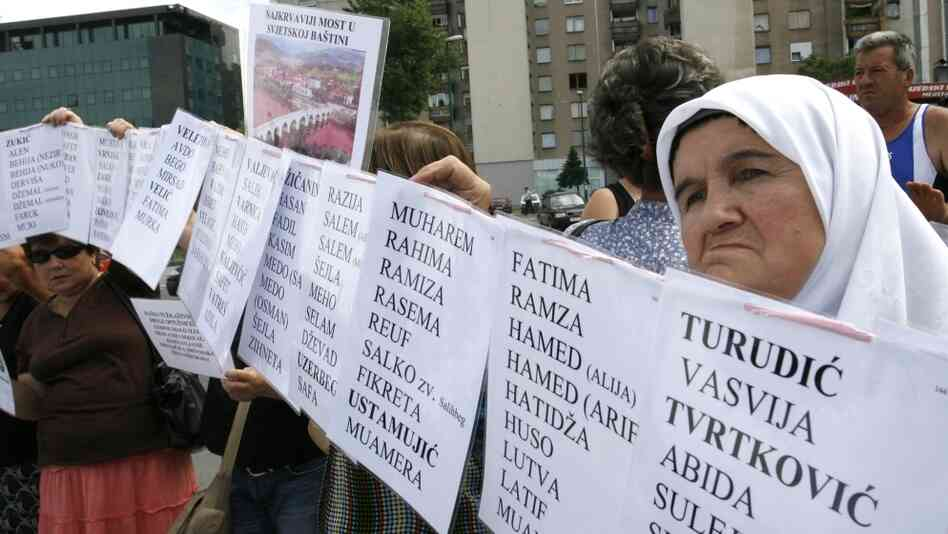 Bosnian Muslim women hold posters with the names of the missing during a protest at the U.N. office in Sarajevo in 2008. Hundreds of wartime rape victims were protesting the decision of the U.N. war crimes tribunal to