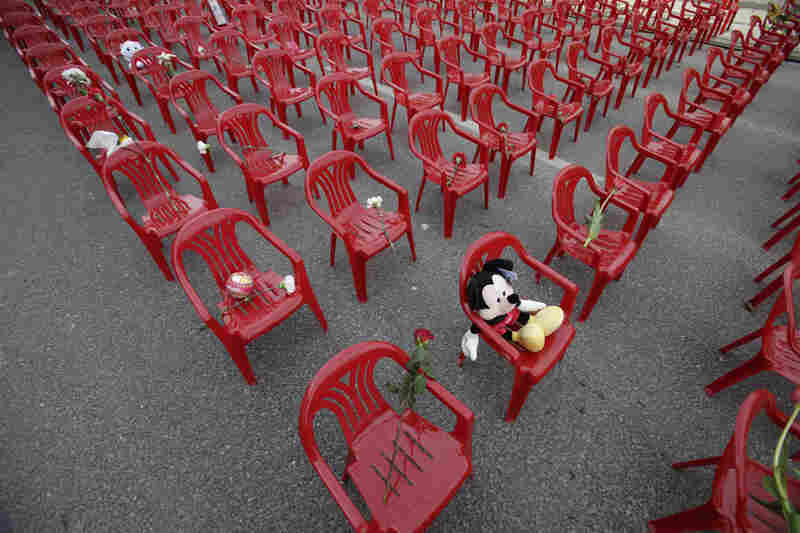Sarajevans placed toys and flowers on the chairs, which remained empty through memorial ceremonies.