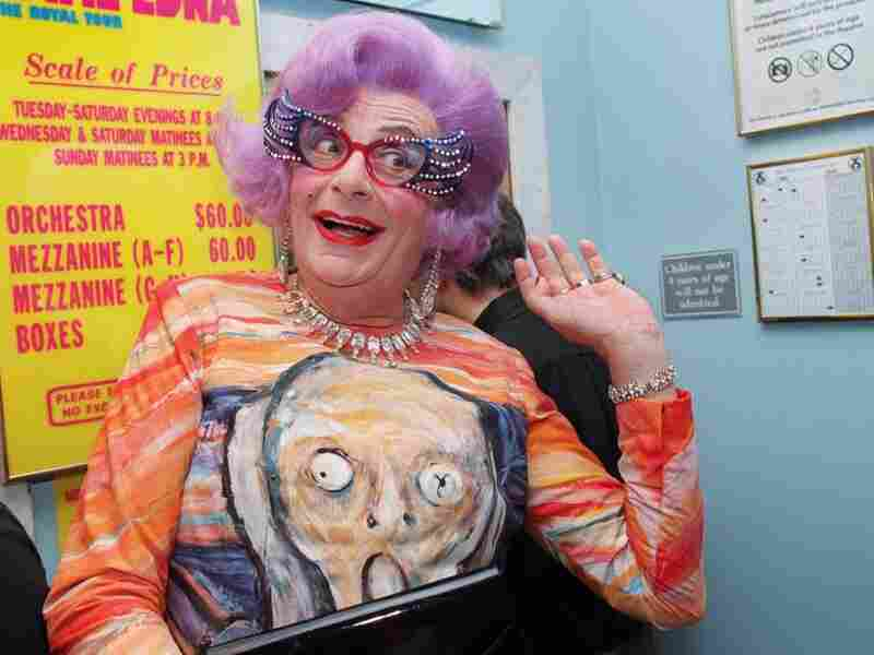 The Scream has been reproduced in countless formats, like this dress worn by comedian Barry Humphries in his guise as Dame Edna Everage.