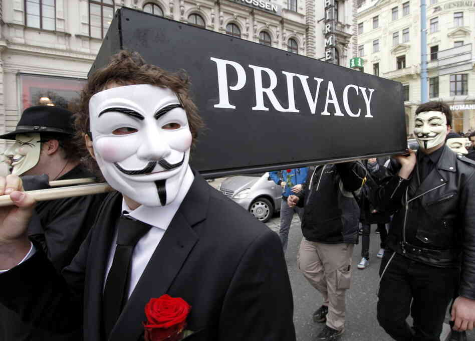 Demonstrators with Guy Fawkes masks protest changing privacy policies on March 31, in Vie