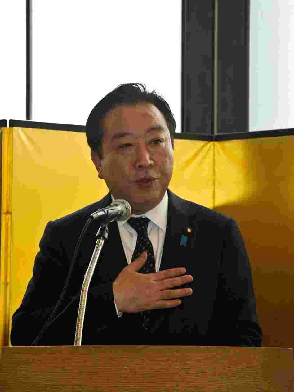 Japanese Prime Minister Yoshihiko Noda speaks during a reception at the Japanese Embassy in Washington on Sunday. Noda meets with President Obama at the White House on Monday.