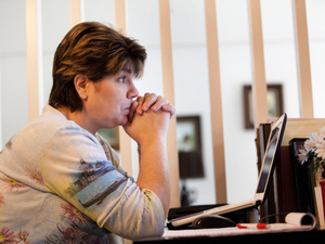 Teresa MacBain pauses while talking about her ongoing job search. She has been out of work since leaving her position as a Methodist pastor earlier this year.