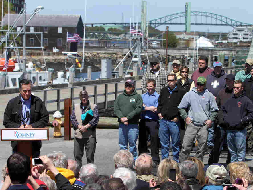 Mitt Romney fished for votes among fishermen in Portsmouth, NH, April 30, 2012.